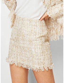Fringe Hem Tweed Skirt by Shein