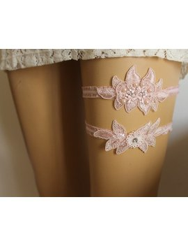Wedding Garter,Customizable Handmade,Pink  Beaded Lace Bridal  Garter , Keepsake Garter, Toss Garter, Bride Lingerie Garter, by Etsy