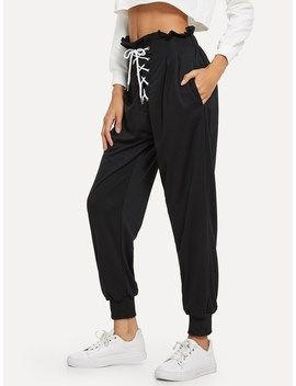 Ruffle Trim Lace Up Front Pants by Romwe