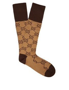 Gg Intarsia Cotton Blend Socks by Gucci