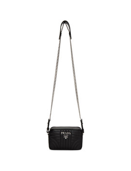 Black Quilted Diagramme Bag by Prada