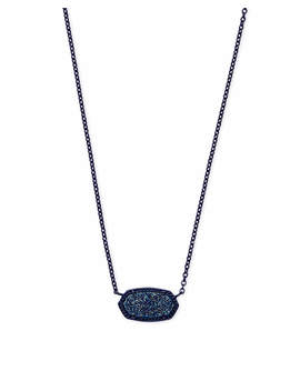 Elisa Navy Gunmetal Pendant Necklace In Blue Drusy by Kendra Scott