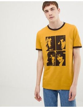 Pretty Green X The Beatles Portrait T Shirt In Yellow by Pretty Green