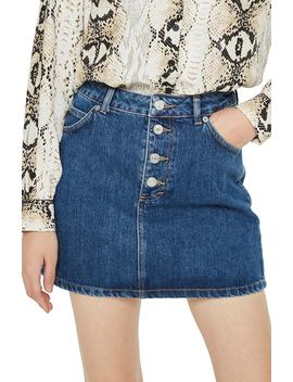 Button Fly Denim Skirt by Topshop