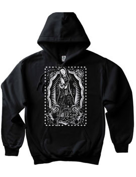Virgin Mary Bandana Hoodie Mexican Cholo Chicano Tattoo Art Pullover Sweatshirt by Cali Design