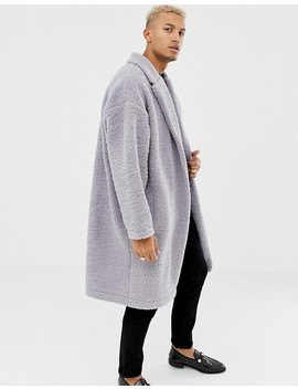 Asos Design Extreme Oversized Duster Jacket In Grey Borg by Asos Design