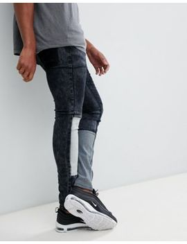 Liquor N Poker Skinny Fit Jeans With Patchwork by Liquor N Poker