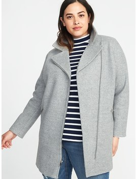 Plus Size Long Soft Brushed Moto Coat by Old Navy
