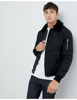 Schott Air Bomber Jacket With Detachable Faux Fur Collar  In Black by Schott