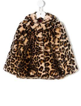 Leopard Print Faux Fur Coat by Monnalisa