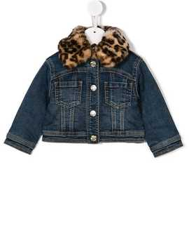 Leopard Collar Denim Jacket by Monnalisa
