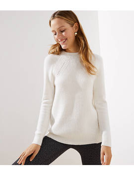 Mixed Ribbed Mock Neck Sweater by Loft