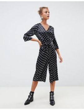 Influence Polka Dot Satin Print Jumpsuit With Tie Waist by Jumpsuit
