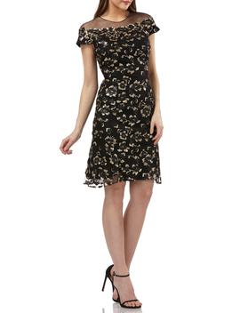 Sequin Floral Illusion Yoke Cocktail Dress by Carmen Marc Valvo Infusion