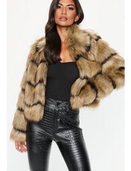 Brown Faux Fur Stripe Coat by Missguided