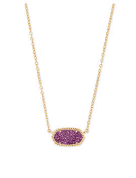 Elisa Gold Pendant Necklace In Amethyst Drusy by Kendra Scott