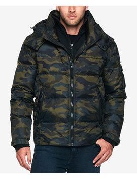 Men's Water Resistant Camo Print Puffer Coat by S13