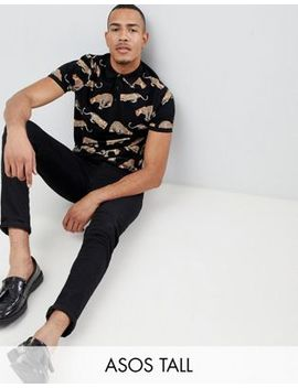 Asos Design Tall Polo With All Over Leopard Print by Asos Design