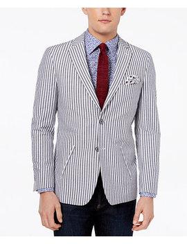 Orange Men's Modern Fit Gray Seersucker Sport Coat by Tallia