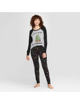 Women's Peanuts Snoopy Holiday Super Soft Pajama Set   Black by Weekend Soul