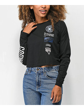 Converse Heritage Patch Black Crop Long Sleeve T Shirt by Converse