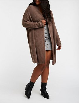 Plus Size Open Front Longline Cardigan by Charlotte Russe