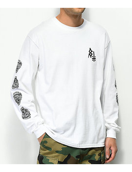 Lurking Class By Sketchy Tank Hellcat White Long Sleeve T Shirt by Lurking Class By Sketchy Tank