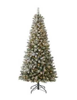 7ft Flocked Jasper Tree With 350 Warm White Led Lights And 977 Mixed Tips by Glucksteinhome