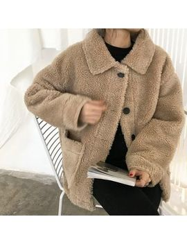 Moon City   Faux Shearling Buttoned Teddy Jacket by Moon City