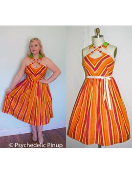 Dress X Strap Cut Out Rockabilly Pinup 1950s Style Full Skirt Rockabilly Style Wedding Guest   Orange Candy Stripe   Plus Size L Xl by Etsy