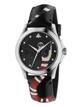 Unisex Swiss Le Marché Des Merveilles Gray Leather Strap Watch 38mm Ya1264007 by Gucci