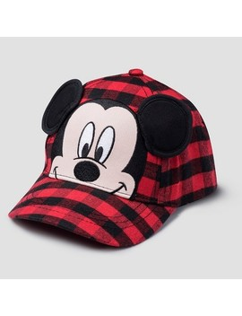 Toddler Boys' Mickey Mouse & Friends Mickey Mouse Plaid Baseball Hat   Black One Size by Mickey Mouse & Friends