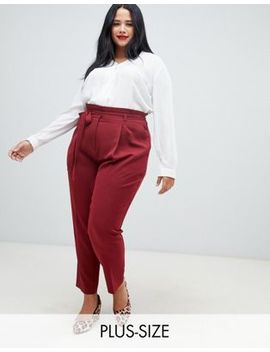 New Look Curve Paper Bag Pants In Burgundy by New Look Curve