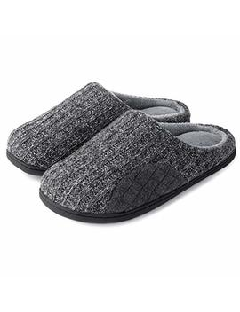 Ultraideas Men's Cashmere Cotton Knitted Autumn Winter Memory Foam Fabric Slippers by Ultraideas