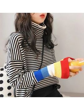 Oykot   Turtleneck Striped Knit Sweater by Oykot