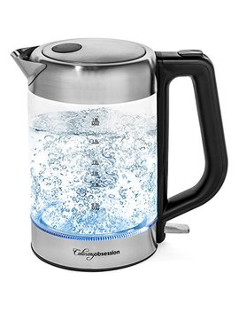 Electric Kettle | Bpa Free With Borosilicate Glass & Stainless Steel   1.8 Liter Rapid Boil Cordless Teapot With Automatic Shut Off   The Best Hot Water Heater For Tea, Coffee, Soup, And More! by Culinary Obsession