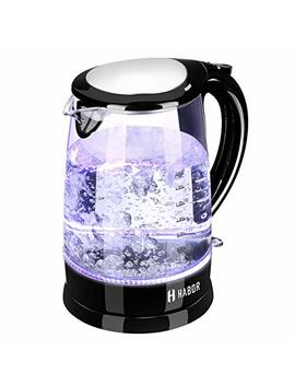 Habor Electric Kettle, Water Boiler 1500 W Fast Heating Tea Pot, 1.8 Qt (1.7 L) Visible Blue Led Lights Bright Glass Body, Auto Shut Off Boil Dry Protection Stainless Steel Inner Lip by Habor