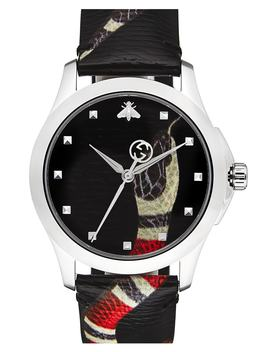 Snake Insignia Leather Strap Watch, 40mm by Gucci