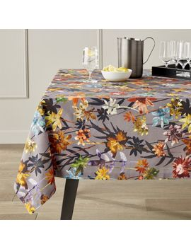 "Suki Grey Floral Print Tablecloth 60""X90"" by Crate&Barrel"