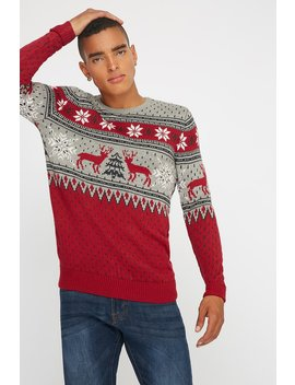 Reindeer Ugly Christmas Knit Sweater by Urban Planet