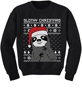 Tstars Slothy Christmas Ugly Christmas Sweater Cute Sloth Toddler/Kids Sweatshirts by Tstars