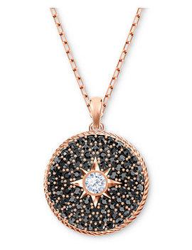 "Rose Gold Tone Crystal Locket 16 1/2"" Pendant Necklace by Swarovski"