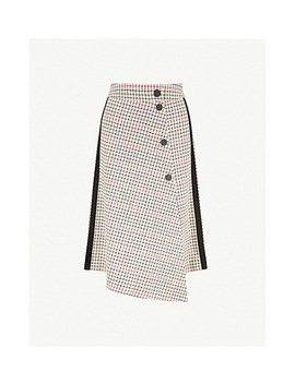 Jessil Asymmetric Checked Woven Skirt by Maje