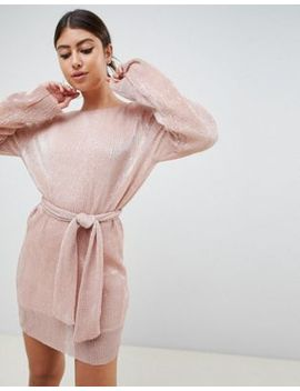 Club L Allover Sequin Shift Dress With Belt Detail In Soft Pink by Club L