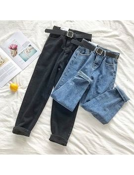 Diyi   Plain High Waist Jeans With Belt by Diyi