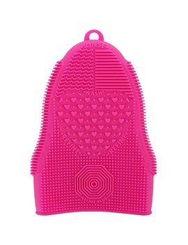 Scivo Kaval Makeup Brush Cleaner Glove Mat Mitt Silicone Cosmetic Cleaning Scrubber Tool Face Brushes And Eye Brush Washing Pad Pink (Rose Red) by Scivo Kaval