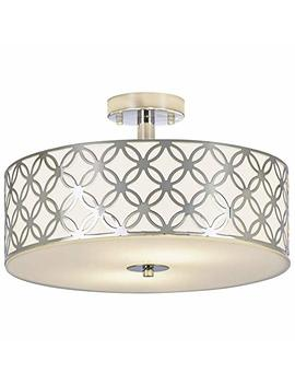 Sottae Luxurious Living Room Bedroom Ceiling Lamp Creamy White Glass Diffuser Chrome Finish Flush Mount Ceiling Light, Ceiling Light Fixture In 13 Inches by Sottae
