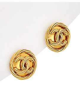 Chanel Gold Tone Rope Twist Cc Clip On Earrings by Chanel