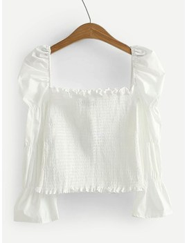 Frill Trim Shirred Puff Sleeve Blouse by Sheinside