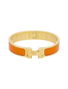 Hermès Orange Enamel Narrow Clic Clac H Bracelet by Hermes